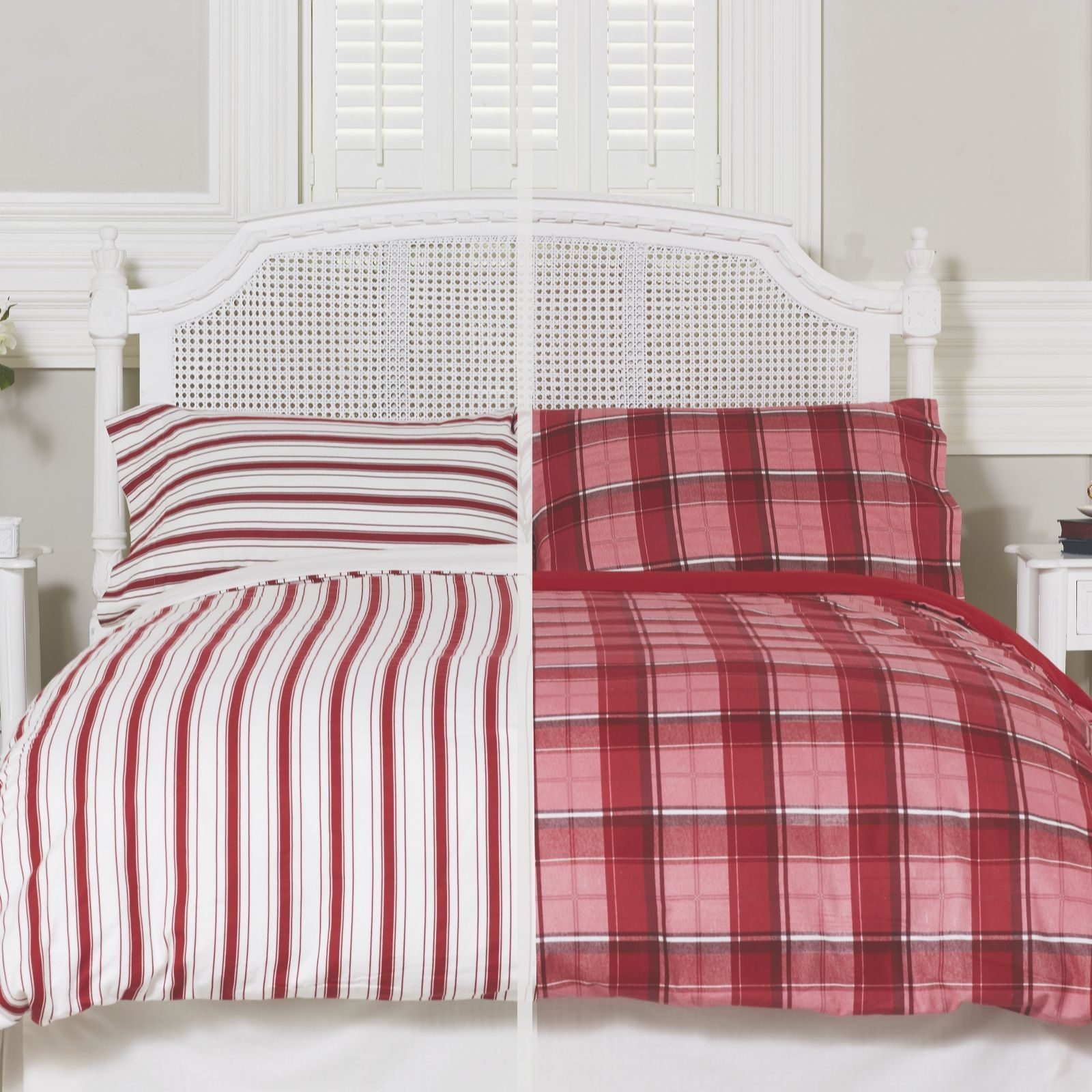 805121 Northern Nights Set Of 2 Tartan Stripe Reversible Flannel 4 Piece Duvet Sets Qvc Price 72 00 114 00 Introducto Duvet Sets Flannel Bedding Duvet
