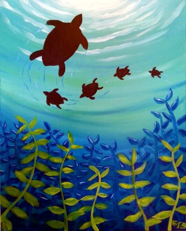 Image result for beach acrylic paintings   Turtle painting ...