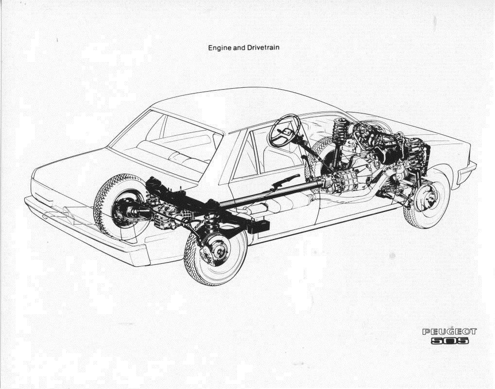 1983 Peugeot 505 Engine & Drivetrain Diagram ORIGINAL