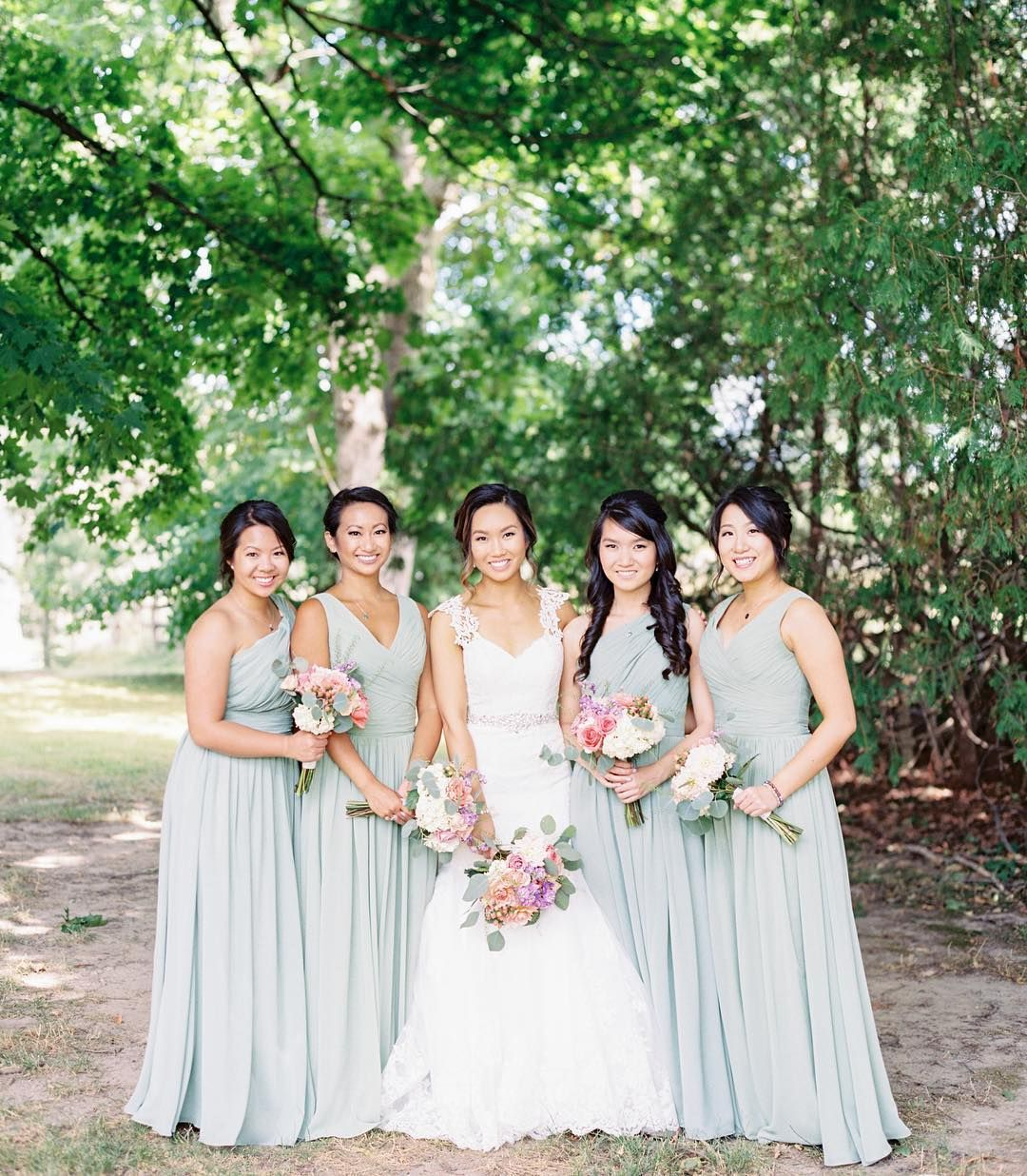 Davids bridal bridesmaids in coordinating bridesmaid dresses davids bridal bridesmaids in coordinating bridesmaid dresses long one shoulder chiffon dress style f18055 and ombrellifo Image collections