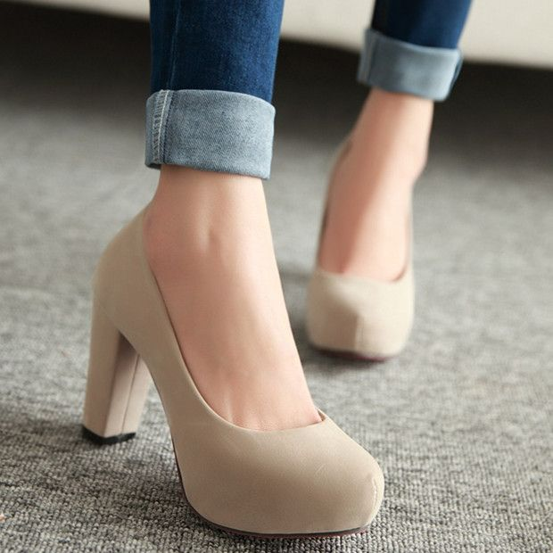 Spring high-heeled shoes female shoes thick heel platform shallow mouth shoes nude color candy color formal work shoes