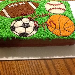 Sports birthday cake Made By Me Pinterest Birthday cakes