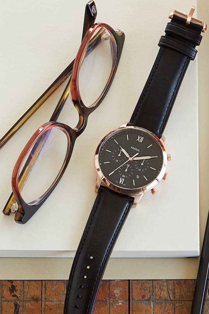 129a9108f0 Our favorite watch combination for him   a rose gold dial with black  leather straps.
