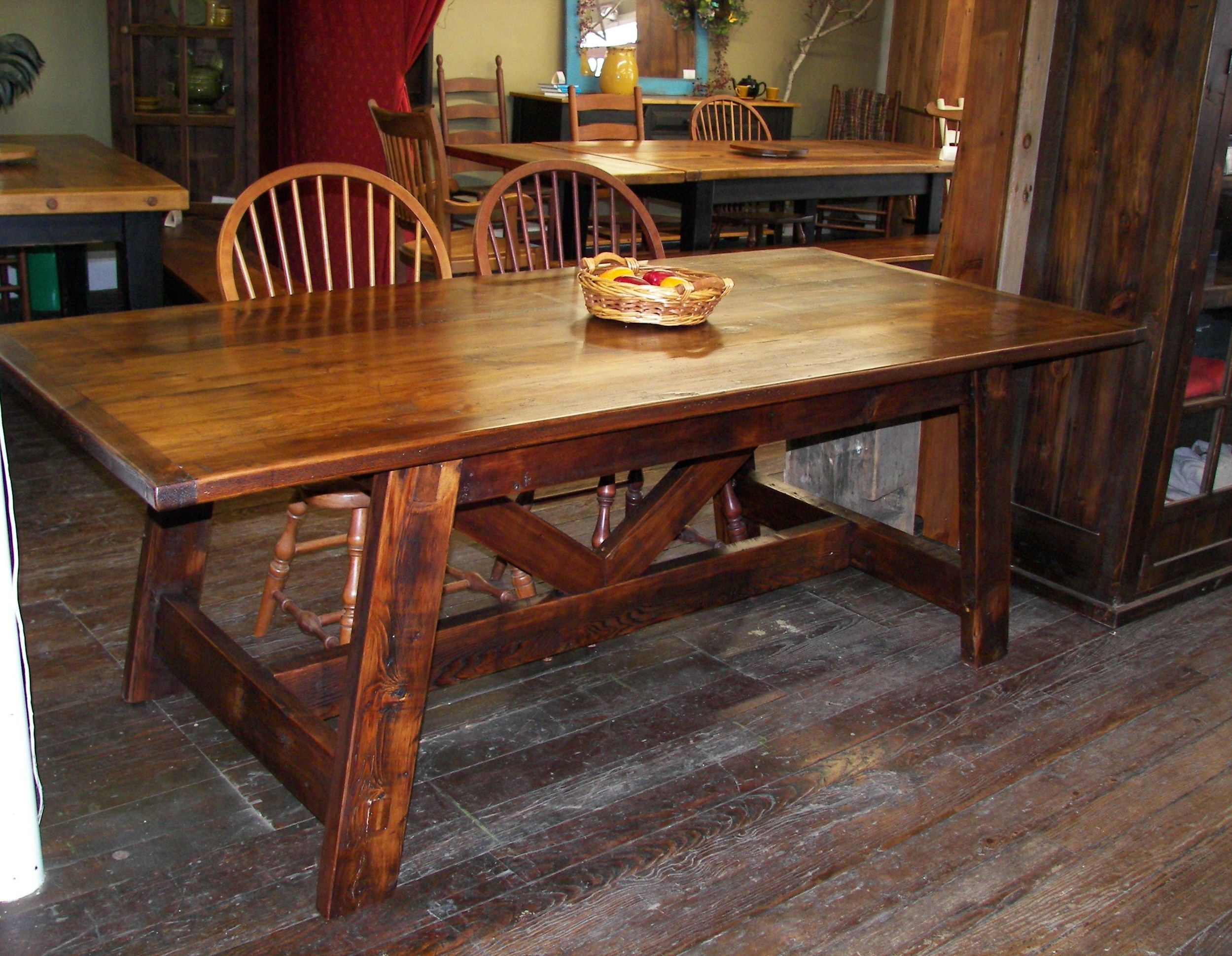 Reclaimed Barn Wood Sawbuck Trestle Farm Table   We Use Wood From  Dismantled Barns And Log