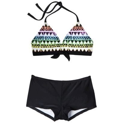 Xhilaration Girls 2 Piece Tribal Print Halter Bikini Swimsuit