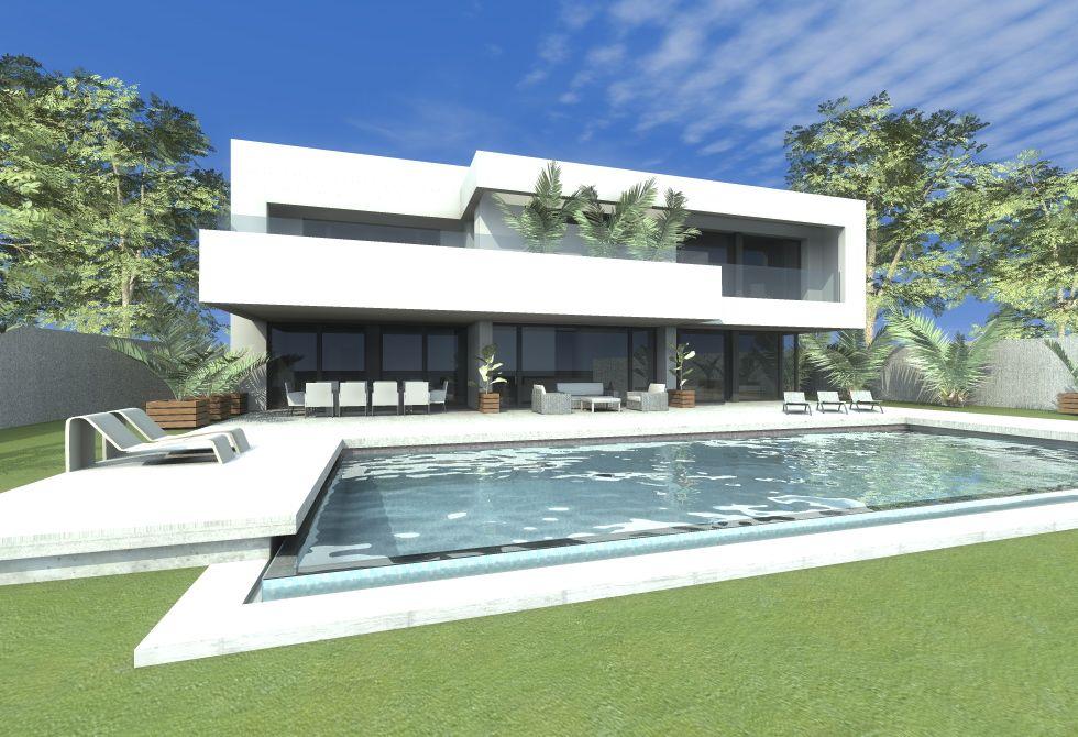 casas de exterior jardin piscina estilo moderno