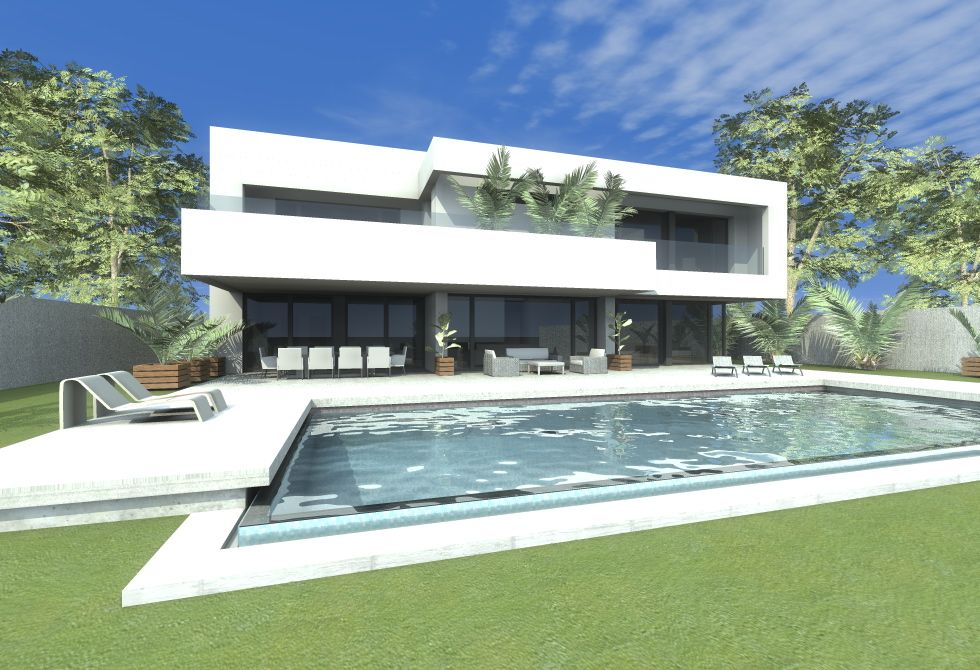 Casas de exterior jardin piscina estilo moderno for Casa minimalista maqueta