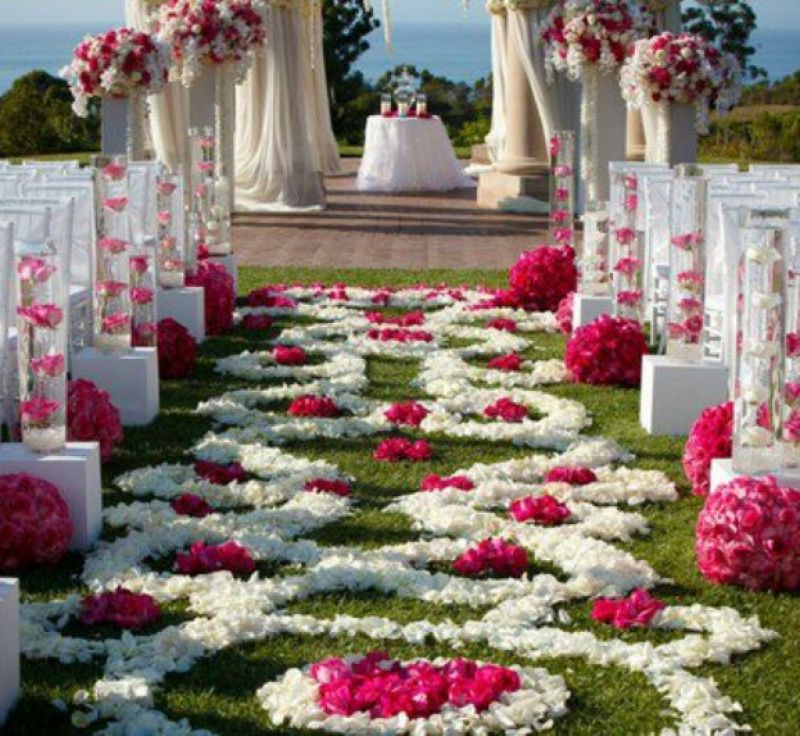 Wedding decoration ideas outdoor unique wedding decorations with wedding decoration ideas outdoor unique wedding decorations with small altar and white covered chairs also flower junglespirit Image collections
