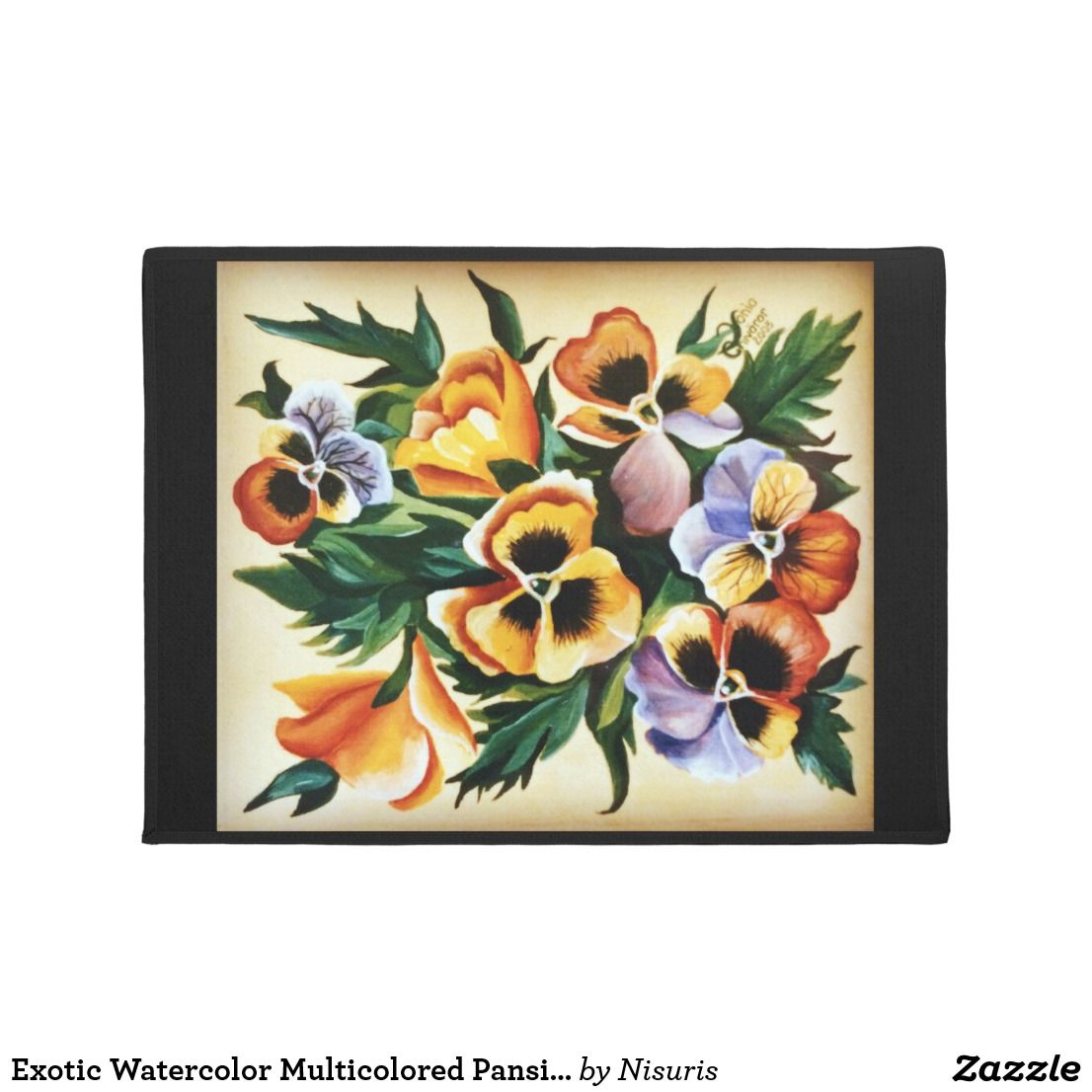 Exotic watercolor multicolored pansies an acrylic painting which