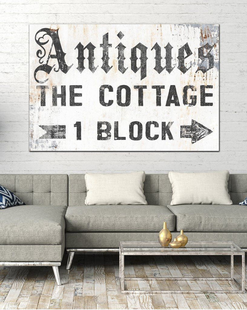 Antique Cottage Vintage Sign Farmhouse Decor Wall Art Canvas