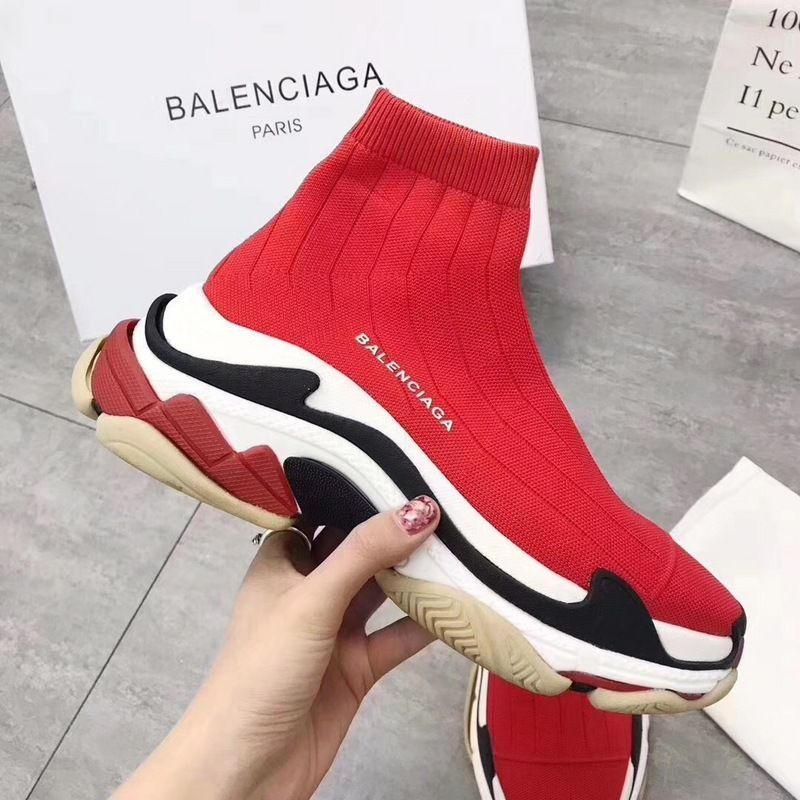 98260d368 Popular Balenciaga Speed Knit Trainers Triple S Face Red For Sale ...