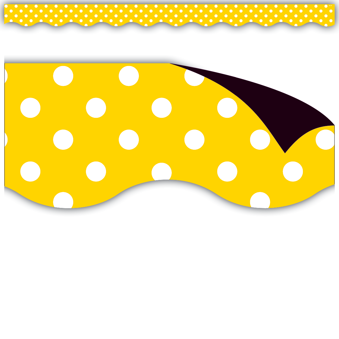 Yellow Polka Dots Magnetic Borders - Decorate your whiteboard in a snap with durable magnetic decor! Add flair to other metal surface such as doors, desks, shelving, and bins. Cuts easily with scissors to make your own labels or games pieces. Includes 12 pieces per pack.