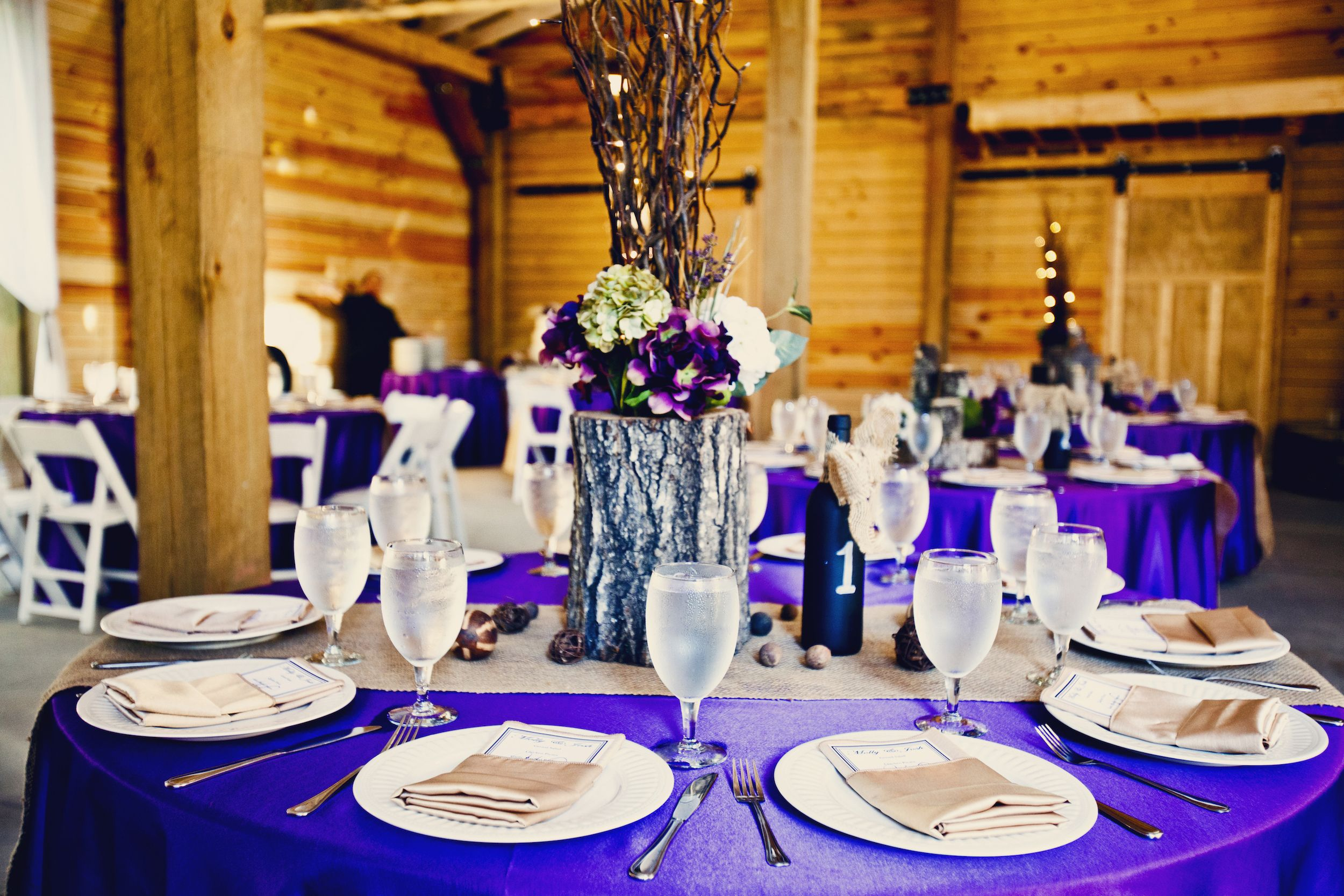 Purple And Burlap Wedding Decor With Rustic Wood Centerpieces The