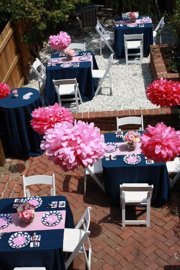 I love these two colors together. Navy and pink would work for any kind of party! Birthday, wedding, baby shower, etc.