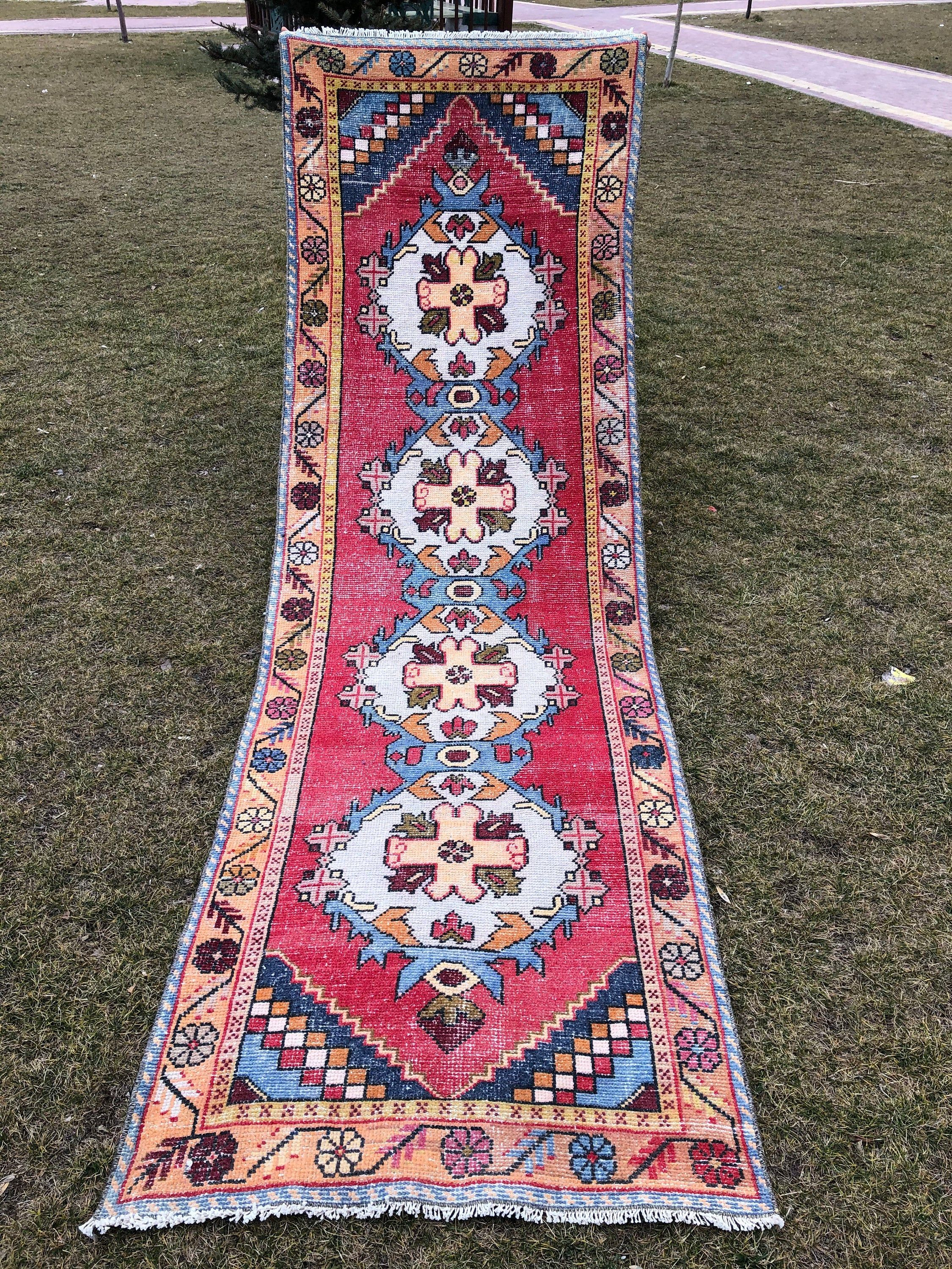 Oushak Runner Rug Red Blue Vintage Turkish Runner Hallway Etsy In 2020 Rug Runner Runner Rug Entryway Rugs #runner #for #living #room