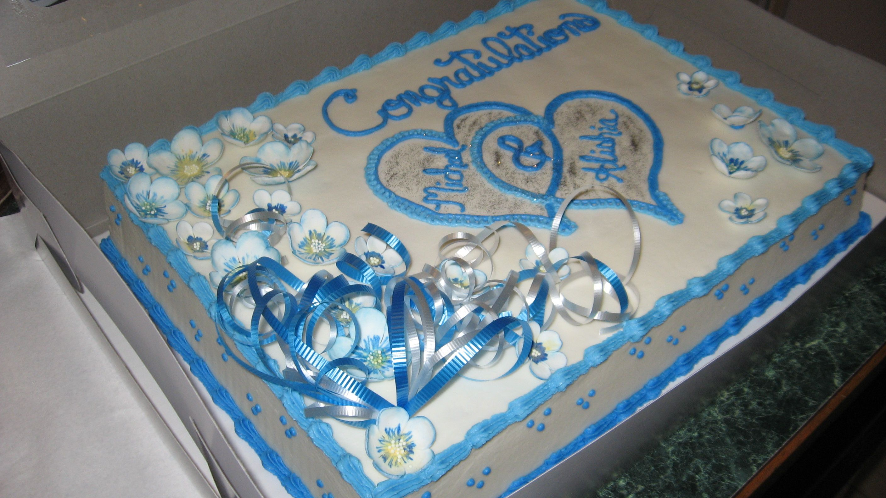 Shades of blue and silver Wedding Shower cake. Wedding
