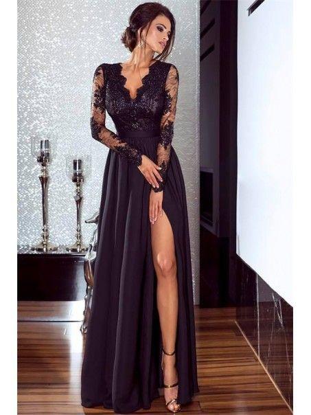 A-Line Long Sleeves Lace Chiffon Long Prom Dress Formal Evening Dresses 99501462#aline #chiffon #dress #dresses #evening #formal #lace #long #prom #sleeves