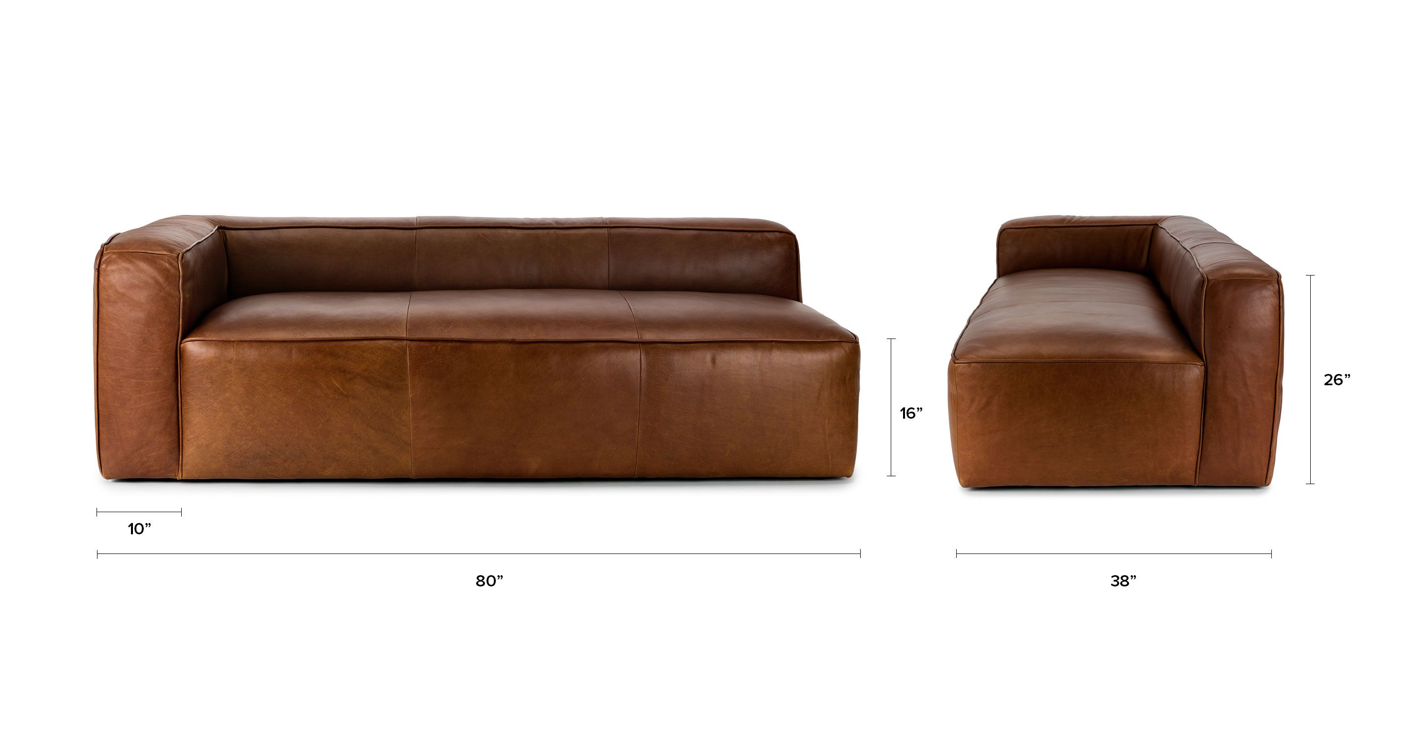 Brown Leather Sofa Left Arm Upholstered