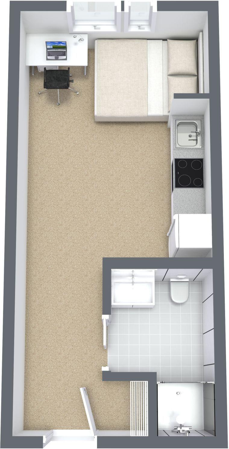 Petit Studio Et Plan 3d Idee D Amenagement Studio Apartment Floor Plans Studio Apartment Design Apartment Floor Plans