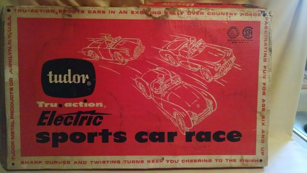 Tudor Tru Action Sports Car Race No 530 Table Top Electric 4 Cars Org Box Metal