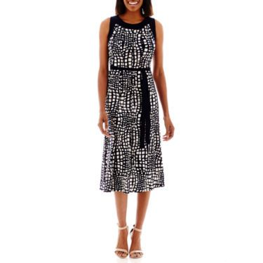 Perceptions Sleeveless Ity Dress With Tie Belt 1 - JCPenney