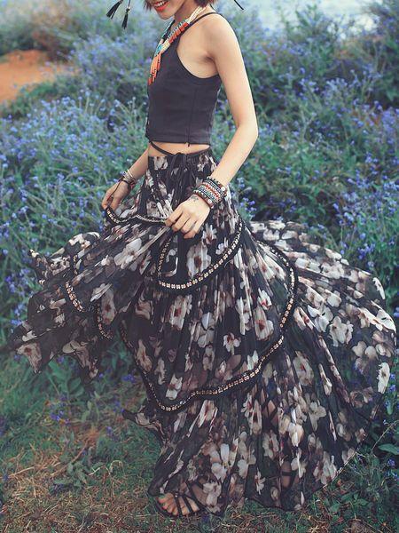 Multicolor Mesh Floral Boho Swing Maxi Skirt