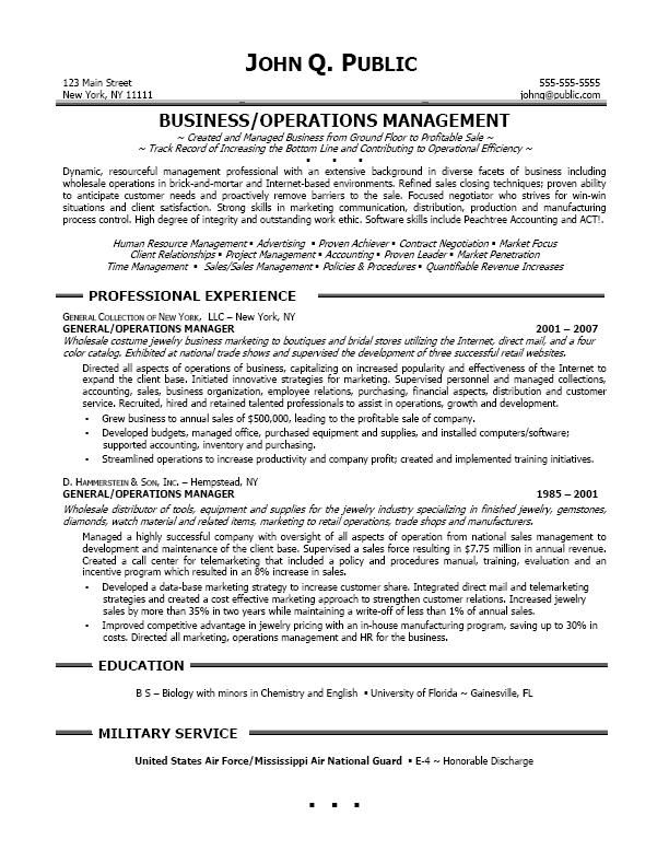 resume sle professional business operations manager