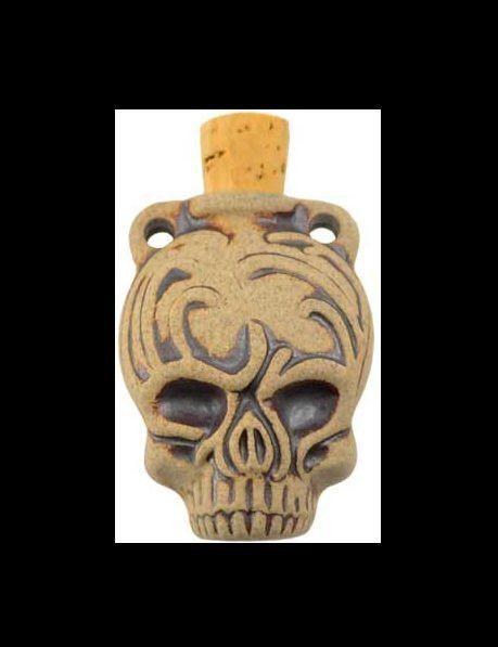Calavera Skull Mystic Oil Bottle Pendant with Cork