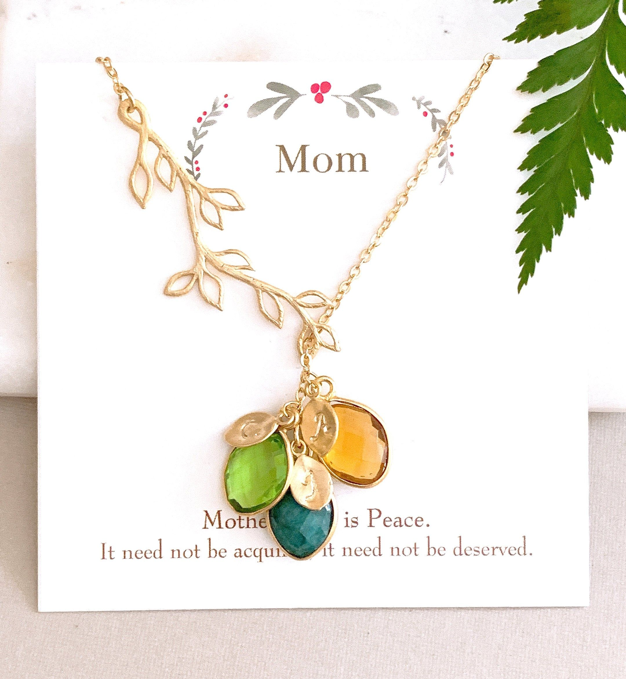 Birthstone Necklace For Mom Grandmother Grandma Jewelry Etsy Personalized Mother Gifts Christmas Gift Jewelry Christmas Necklace Gift