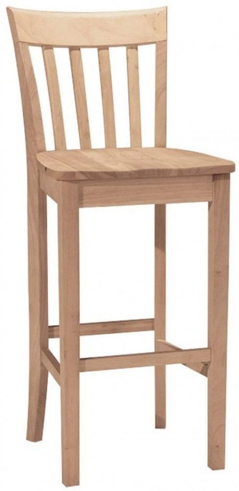 Delightful Eco Friendly Unfinished Wood Bar Stool Sand Well With 180 Grit Paper 30  Inch | Wood Bar Stools, Wood Bars And Unfinished Wood