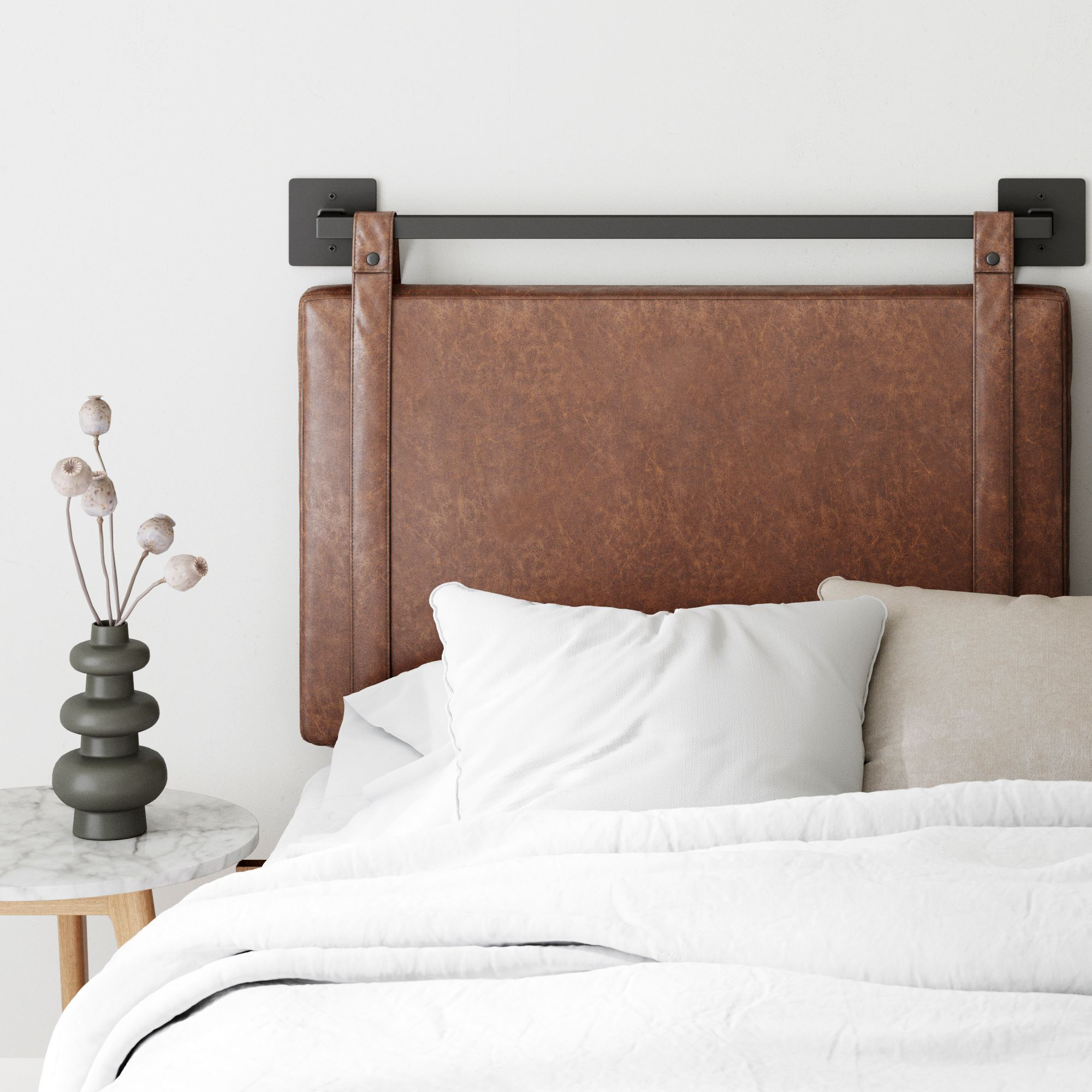 Nathan James Harlow Twin Wall Mount Headboard Faux Leather Upholstered Headboard Adjustable Height Vintage Brown Pu Leather Straps With Black Matte Metal Rail In 2020 Upholstered Headboard Upholstered Panels Wall Mounted Headboards
