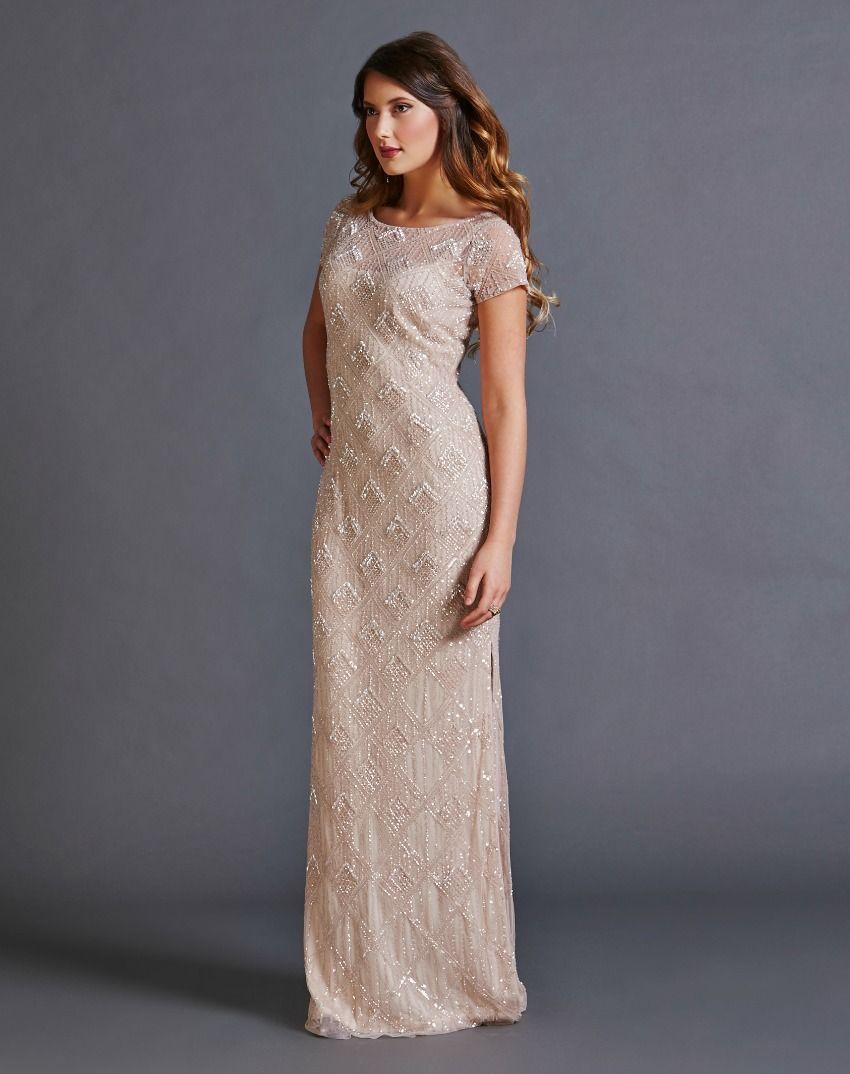 Pink Chablis Cap Sleeve Beaded Gown | Bridesmaid Dresses | Pinterest