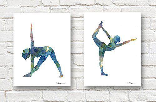 Set of 2 Abstract Yoga Art Prints