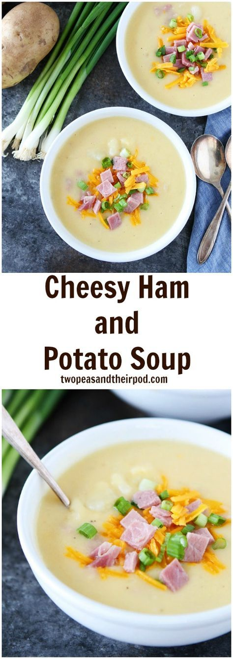 Cheesy Ham and Potato Soup Recipe on twopeasandtheirpod.com Use your leftover holiday ham to make this cheesy, creamy and delicious ham, cheese, and potato soup!