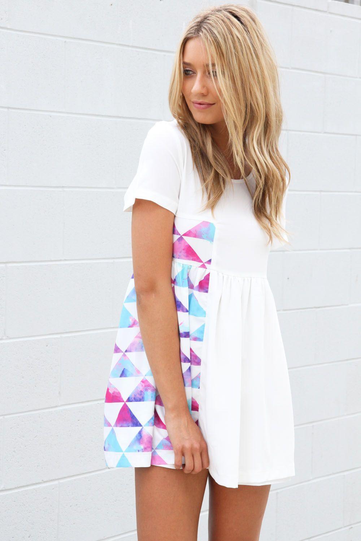 PEACHY BLISS fashion~ Need Boho? ~ Short white dress w/t colorful ...