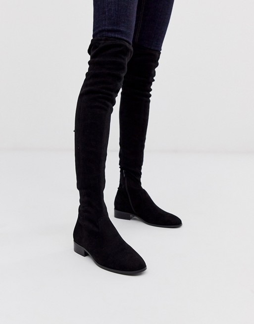 Flat Thigh High Boots, White Suede Over