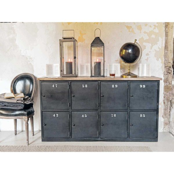 Metal And Mango Wood Industrial Counter Chest In Charcoal Grey