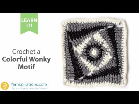 How-To Crochet a Colorful Wonky Motif - YouTube