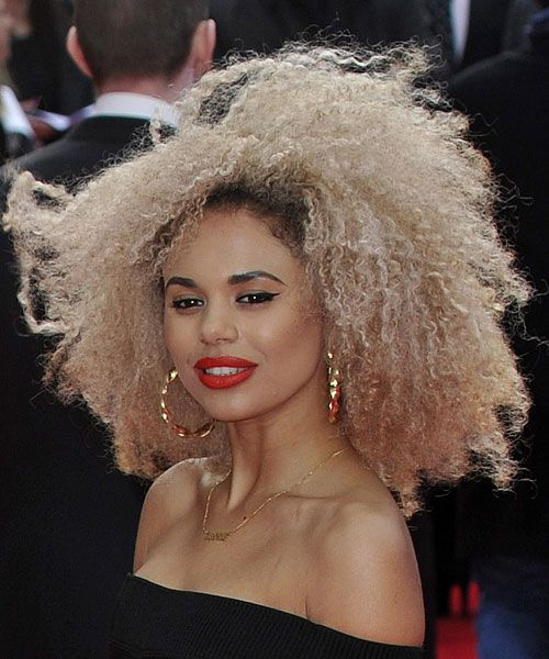 Jessica Plummer Curly Teased Platinum Blonde Afro Hairstyle