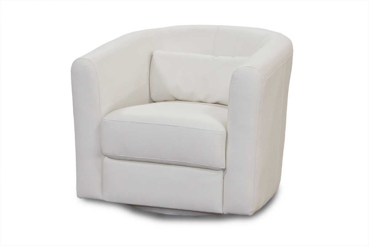 Incroyable White Leather Chair | Angelica Low Profile White Leather Swivel Chair