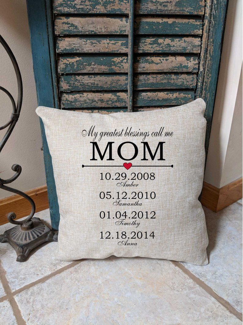 Personalized Mothers Day Pillow Birthday Gift For Mom