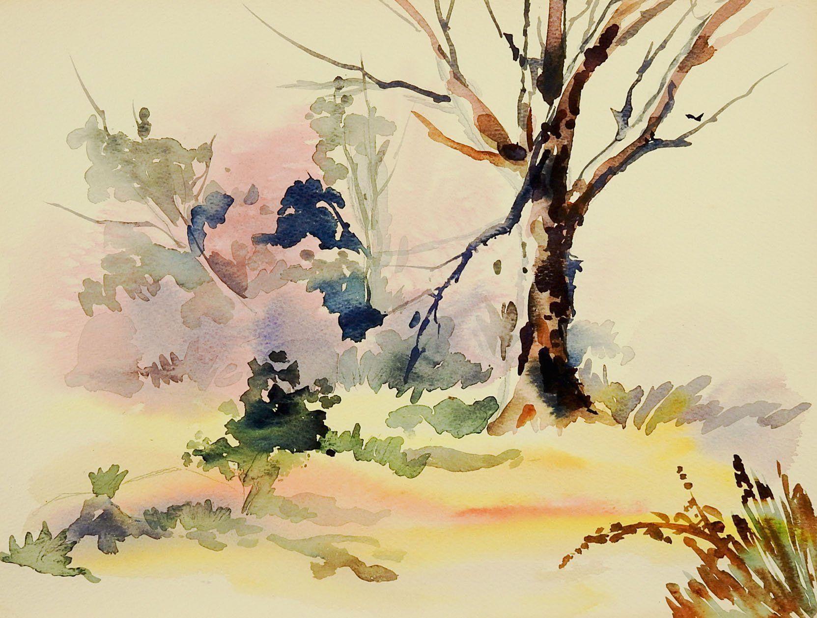 Plein Air Landscape Watercolor Painting Акварель