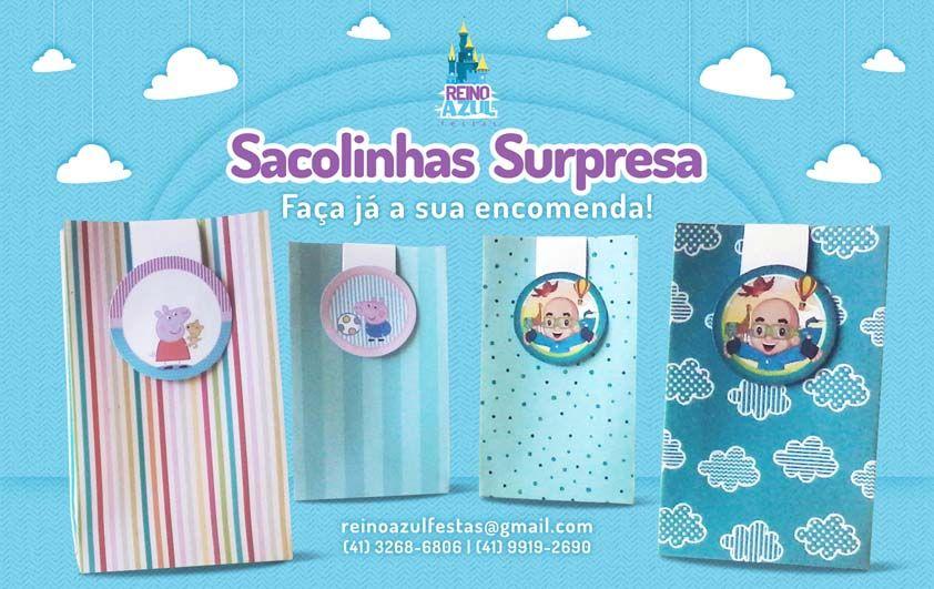 Sacolinhas Surpresa Peppa Pig ou Biguinha - Reino Azul Festas www.facebook.com/ReinoAzulFestas