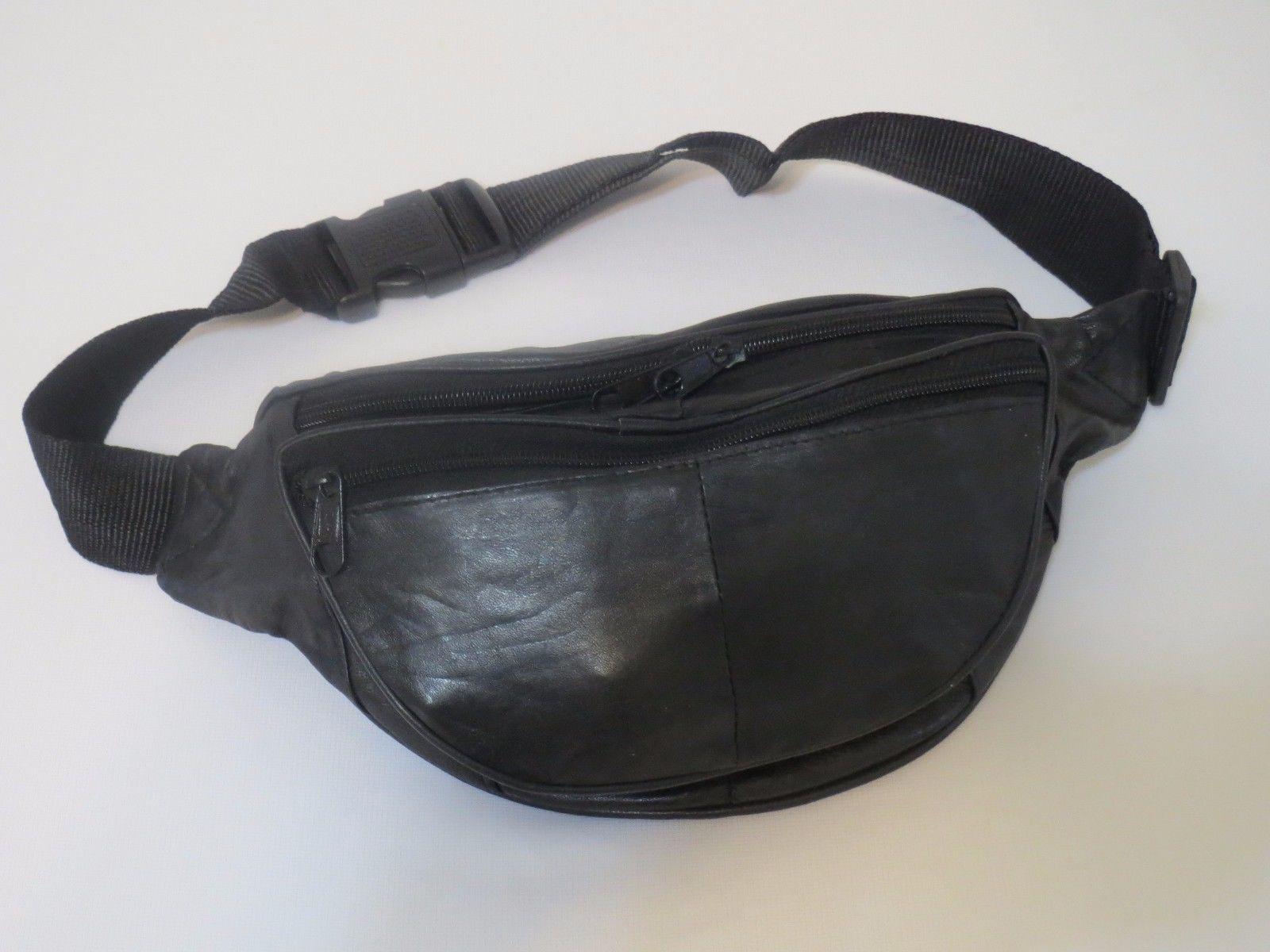 415c2b122a2 Black Genuine Leather Fanny Pack Waist Bag Hip Belt Pouch Travel Purse Men  Women