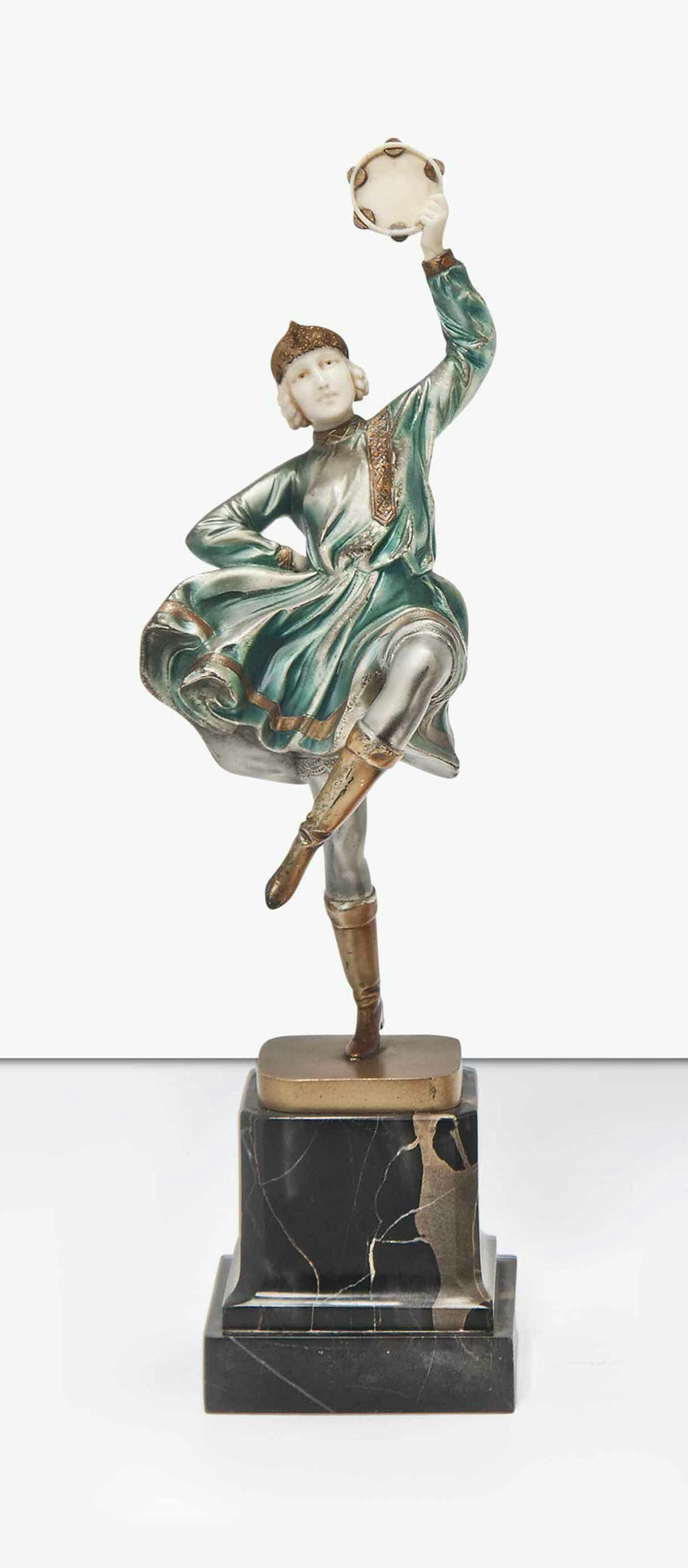 A FERDINAND PREISS (1882-1943) GILT-BRONZE AND IVORY FIGURE