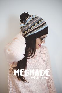This is a pattern for a slouchy beanie that features an aztec tribal pattern using five yarn colors.