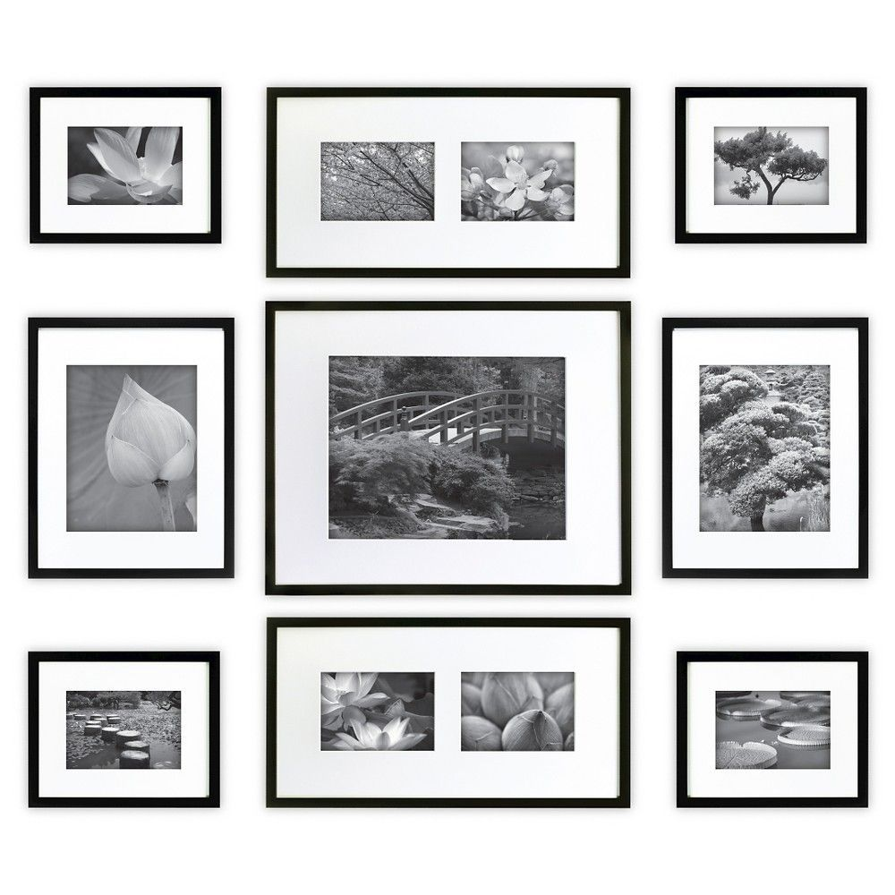 Gallery Perfect 9 Piece Multi Size Wall Frame Set Black Products