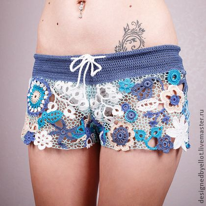 Pantalones, pantalones cortos hechos a mano.  Masters Feria artesanal - Short Jeans.  Hecho a mano.
