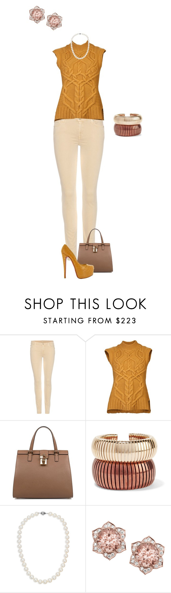"""""""Untitled #306"""" by lunajokermoon on Polyvore featuring 7 For All Mankind, Derek Lam, Dolce&Gabbana, Christian Louboutin, Rosantica and Blue Nile"""