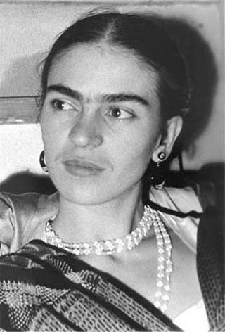 """FRIDA KAHLO (1907-1954) was a Mexican painter, born in Coyoacán.  Perhaps best known for her self-portraits, Kahlo's work is remembered for its """"pain and passion"""", and its intense, vibrant colors. Her work has been celebrated in Mexico as emblematic of national and indigenous tradition, and by feminists for its uncompromising depiction of the female experience and form."""